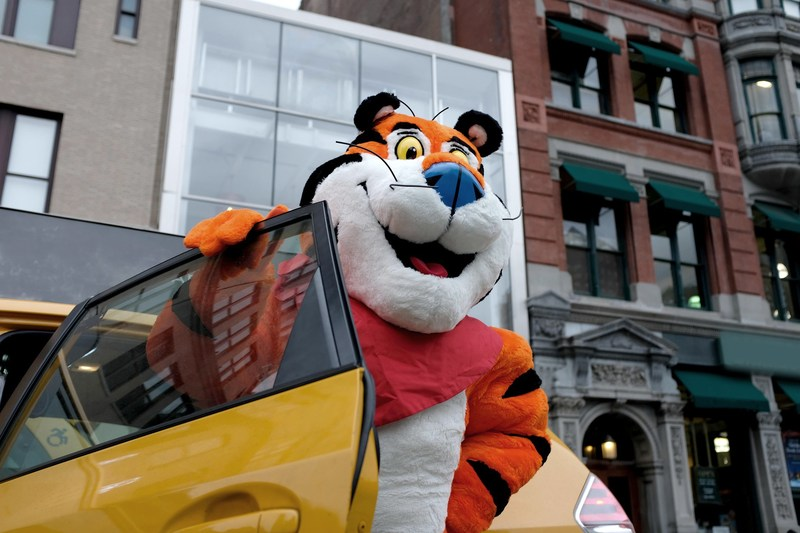 Tony the Tiger® arrives outside of the new Kellogg's NYC Café in Union Square, which opens on December 14, 2017.