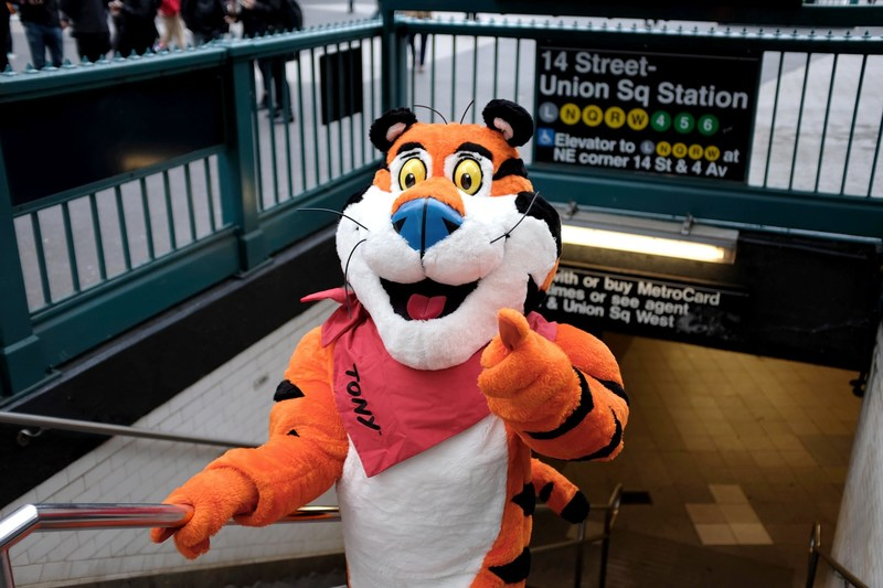 Tony the Tiger® arrives in Union Square ahead of the grand opening of the new Kellogg's NYC Café on December 14, 2017.