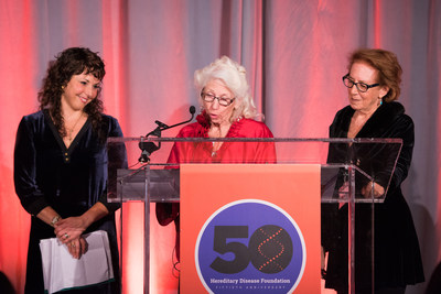 The Leslie Gehry Brenner Award was presented to Sarah Tabrizi (Left) by HDF President Nancy Wexler (at podium) with HDF Board Member Alice Wexler. (Photo by: Anthony Collins Photography)