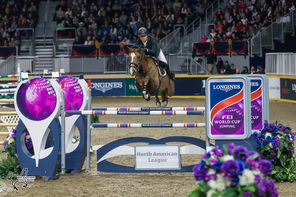 Ireland's Shane Sweetnam was second in the $150,000 Longines FEI World Cup™ Jumping Toronto riding Main Road for owners Seabrook, LLC and Sweet Oak Farm. Photo by Ben Radvanyi Photography (CNW Group/Royal Agricultural Winter Fair)