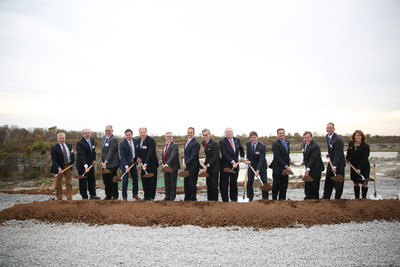 Officials break ground for the construction of Kentucky Owl Park, the future home of Stoli Group's American Whiskey Division, on November 8, 2017, in Bardstown, KY.