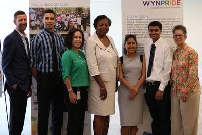 Gail Marquis, Olympic medalist, scholar, Wall Street executive and gay marriage advocate, meets with Wyndham Worldwide Diversity & Inclusion team members and NJCU students who served as 2017 summer interns in Parsippany, NJ, June 12, 2017: L-R: Brian Klecatsky, former Senior Manager, D&I; Kristopher Rivero, former Wyndham Worldwide intern; Erika Mercedes (Gonzalez), Senior Manager, D&I; Gail Marquis; Christine Romero, former Wyndham Hotel Group intern; Jodhan Heera, former Wyndham Destination Network intern; Patti Lee, SVP of Human Resources and Chief Diversity Officer.