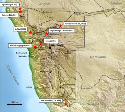 Figure 1 - Project Locations - Strategic Metals Portfolio (CNW Group/Namibia Rare Earths Inc.)