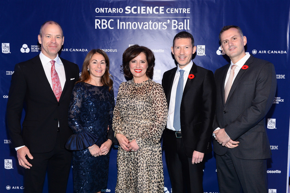 RBC Innovators' Ball committee members from left to right: Brett Marchand, Cynthia Marchand, Bambina Marcello, Benjamin Smith and Serge Vitale at the 2017 RBC Innovators' Ball, which netted a record $600,000 to support the Ontario Science Centre and its vital community access programs. (CNW Group/Ontario Science Centre)