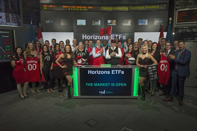 Steve Hawkins, President and Co-CEO, Horizons ETFs., joined Rob Peterman, Vice-President, Global Business Development, TMX Group, to open the market to celebrate their Official Partnership and Exclusive ETF Sponsorship of the Toronto Raptors for the 2017-2018 NBA season. Horizons ETFs is a financial services company and a subsidiary of the Mirae Asset Financial Group. For more information, please visit www.horizonsetfs.com and www.mlse.com. (CNW Group/TMX Group Limited)