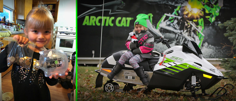 Sunshine Oelfke receives dream Arctic Cat snowmobile after giving away her savings to classmates in need