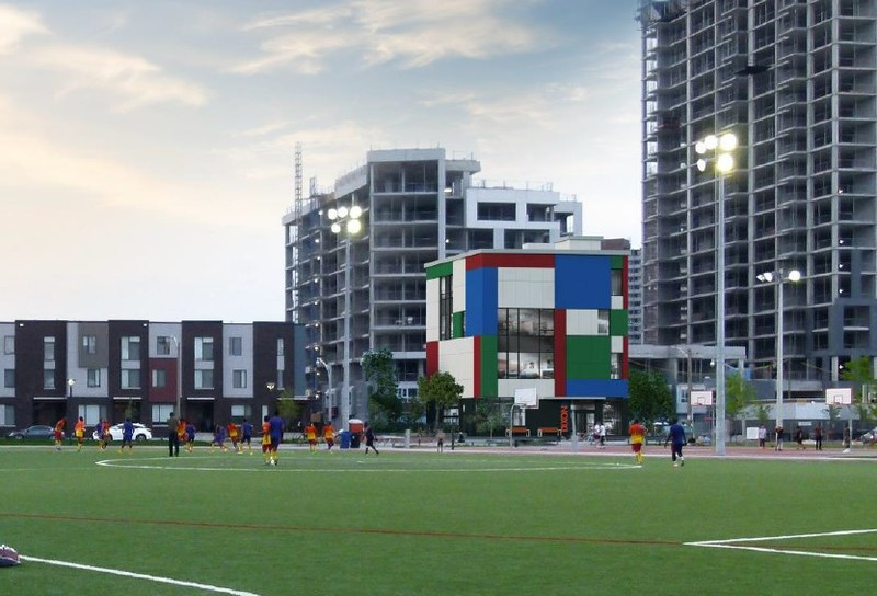 An exterior shot of the future Dixon Hall youth centre in Regent Park. The youth centre will operate Children & Youth programs, which includes the relocation of the Ada Slaight Studios from Dixon Hall Music School. Youth and community residents collaborated during an open forum to determine the look and feel of the building. Architect: Venchiarutti Gagliardi Architect Inc. (CNW Group/Dixon Hall)