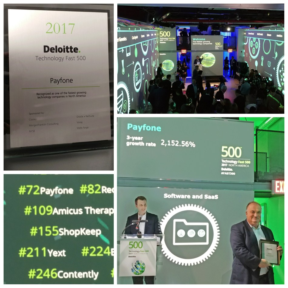 Payfone's Chief Financial Officer, Tom FitzSimmons, accepts the Deloitte Fast 500 award on behalf of Payfone.