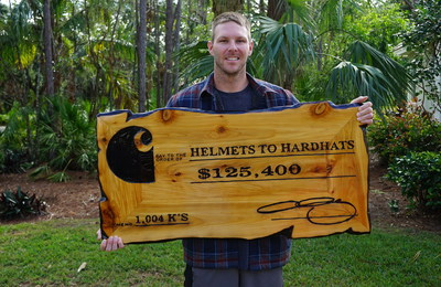Chris Sale holds a check for $125,400 to be donated to Helmets to Hardhats as part of Carhartt's Strikeouts for Vets program.