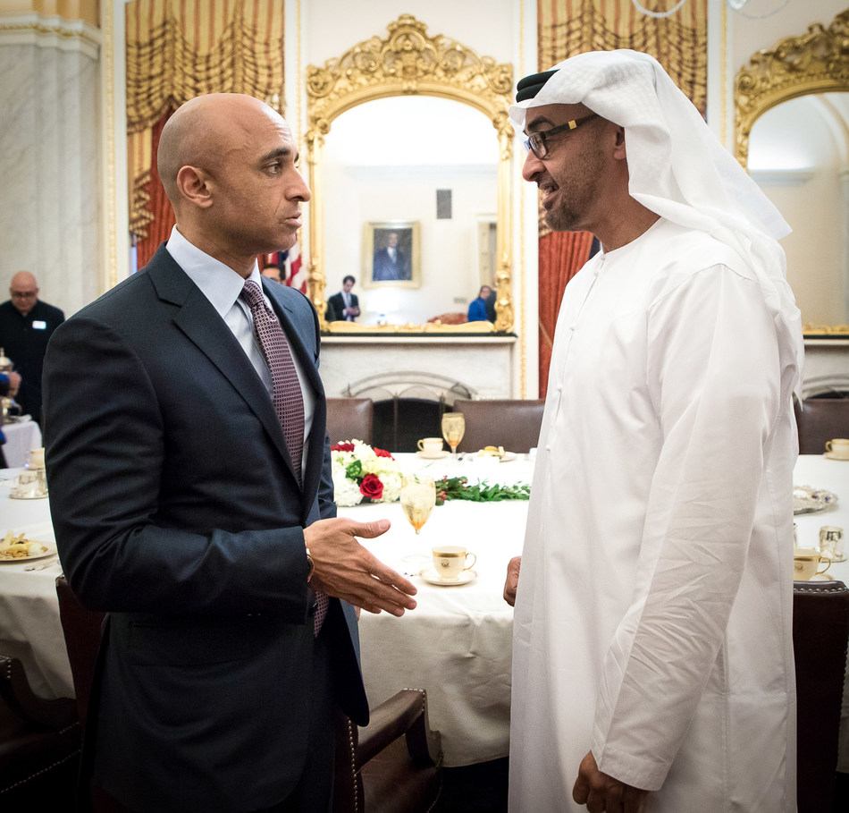 His Highness Sheikh Mohamed bin Zayed Al Nahyan, Crown Prince of Abu Dhabi and Deputy Supreme Commander of the United Arab Emirates Armed Forces (R) in discussion with His Excellency Yousef Al Otaiba (L) on Capitol Hill earlier this year.