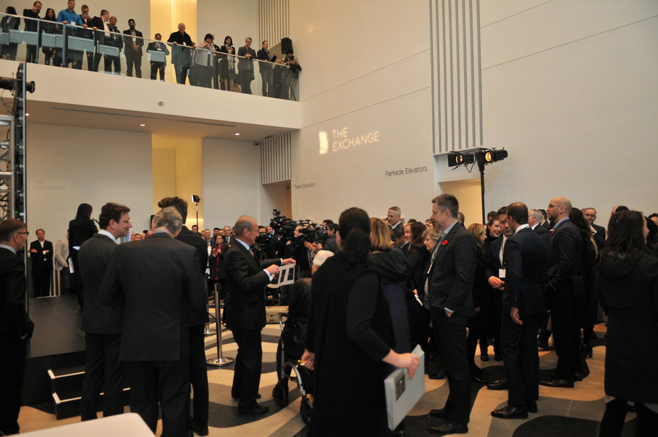 More than 200 people attended the grand opening for The Exchange, Vancouver's tallest LEED Platinum office tower (CNW Group/Credit Suisse Real Estate Asset Management)