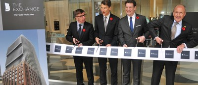 Pictured from left to right -- Lead architect Harry Gugger, Vancouver Mayor Gregor Robertson, Credit Suisse Asset Management's Christoph Schumacher, SwissReal's Franz Gehriger. (CNW Group/Credit Suisse Real Estate Asset Management)