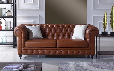 Crawley Leather Chesterfield Sofa