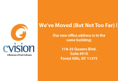 CVISION's new office address is 118-35 Queens Blvd, Suite #910, Forest Hills, NY 11375