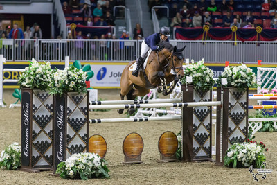 Four-time U.S. Olympic medalist Beezie Madden (USA) won the $35,000 Brickenden Trophy riding Coach on Thursday, November 9, at the CSI4*-W Royal Horse Show in Toronto, ON. Photo by Ben Radvanyi Photography (CNW Group/Royal Agricultural Winter Fair)