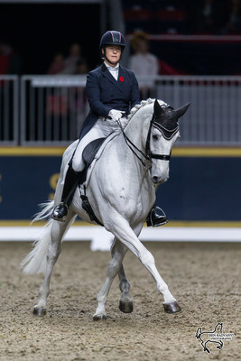 Crowd favourite Jacqueline Brooks of Mount Albert, ON, took second place in the $20,000 Royal Invitational Dressage riding D Niro for owner Brookhaven Dressage Inc. Photo by Ben Radvanyi Photography (CNW Group/Royal Agricultural Winter Fair)