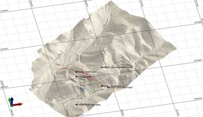 Figure 1.  Detailed DEM from the 2017 UAV survey at the Maria Luisa Project. (CNW Group/Altiplano Minerals)