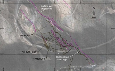 Figure 2.  Location map of the 2017 drilled holes, underground workings, and surface veins at the Maria Luisa Project. (CNW Group/Altiplano Minerals)
