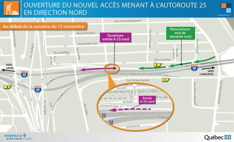 Ouverture du nouvel accès menant à l'autoroute 25 en direction nord (Groupe CNW/Ministère des Transports, de la Mobilité durable et de l'Électrification des transports)