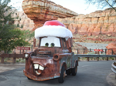 NEW HOLIDAY TRANSFORMATIONS IN CARS LAND (ANAHEIM, Calif.) – From Nov. 10, 2017 through Jan. 7, 2018, Cars Land is adorned with special holiday décor at Disney California Adventure Park. Two attractions put the magic in overdrive as they transform for the first time this holiday to Mater's Jingle Jamboree and Luigi's Joy to the Whirl. Mater and Luigi add even more cheer to the seasonal fun by singing new holiday tunes for the occasion. (Paul Hiffmeyer/Disneyland Resort)