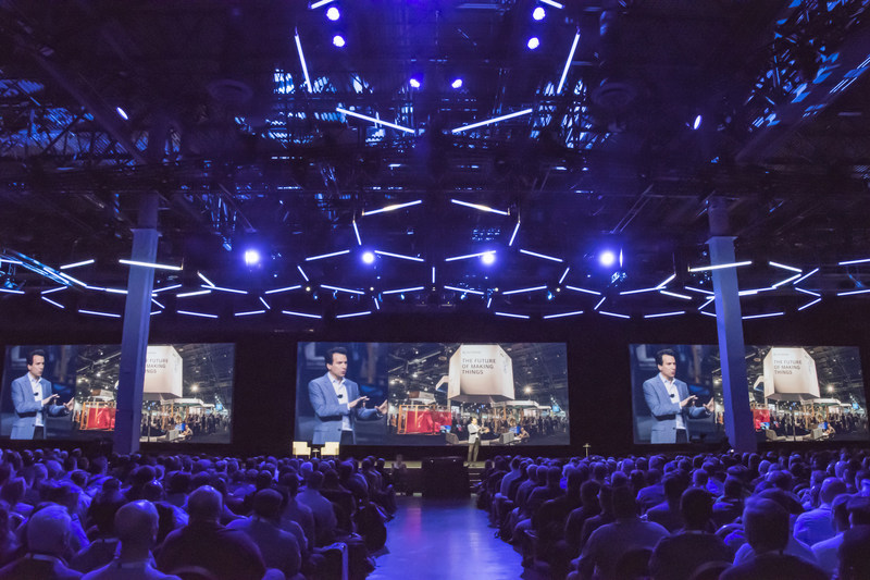 Autodesk CEO Andrew Anagnost delivering a keynote address at Autodesk University.