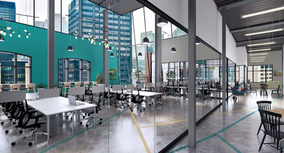 7th floor reserved co-working area with dedicated desks and a stunning view of the city (CNW Group/Spaces)