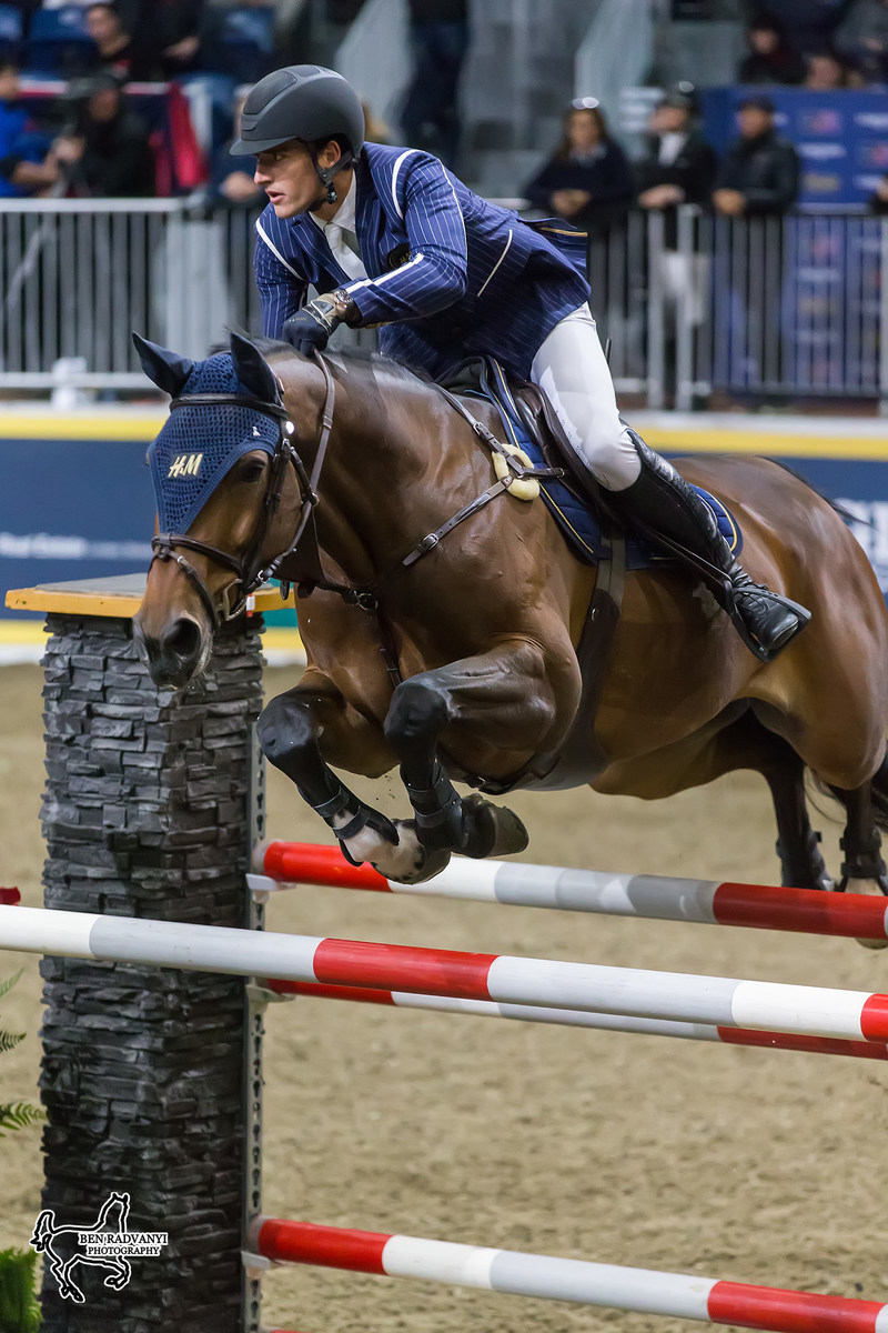 Nicola Philippaerts of Belgium was second riding Inouk P in the $50,000 Weston Canadian Open on Friday, November 10, at the CSI4*-W Royal Horse Show in Toronto, ON. Photo by Ben Radvanyi Photography (CNW Group/Royal Agricultural Winter Fair)
