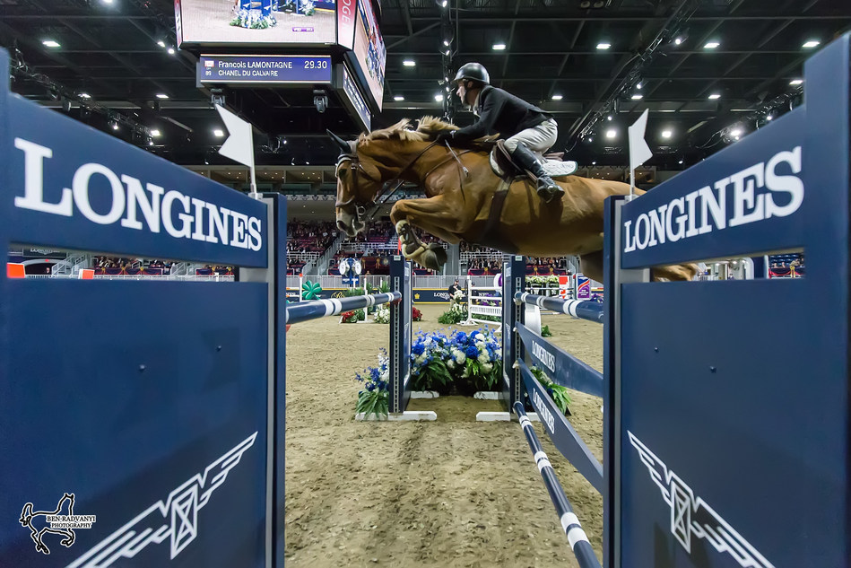 Canada's own François Lamontagne of St. Eustache, QC, took third in the $50,000 Weston Canadian Open riding Chanel du Calvaire on Friday, November 10, at the CSI4*-W Royal Horse Show in Toronto, ON. Photo by Ben Radvanyi Photography (CNW Group/Royal Agricultural Winter Fair)