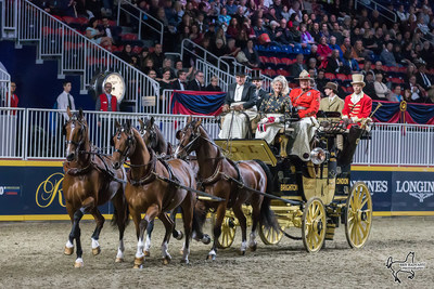 Mr. and Mrs. Harvey Waller of Stockbridge, MA, won the Green Meadows Four-In-Hand Coaching Appointments class for the second year in a row on Friday, November 10, at the Royal Horse Show in Toronto, ON. Photo by Ben Radvanyi Photography (CNW Group/Royal Agricultural Winter Fair)