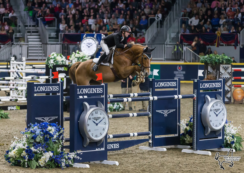 Canada's own François Lamontagne of St. Eustache, QC, took second in the $87,000 GroupBy Big Ben Challenge on home soil riding Chanel du Calvaire in the final international show jumping event of the CSI4*-W Royal Horse Show in Toronto, ON. Photo by Ben Radvanyi Photography (CNW Group/Royal Agricultural Winter Fair)