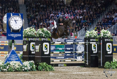 Hardin Towell of the United States conquered the $87,000 GroupBy Big Ben Challenge in front of a sold-out crowd on Saturday, November 11, riding Lucifer V for owner Evergate Stables, LLC, to close out international show jumping competition at the Royal Horse Show in Toronto, ON. Photo by Ben Radvanyi Photography (CNW Group/Royal Agricultural Winter Fair)