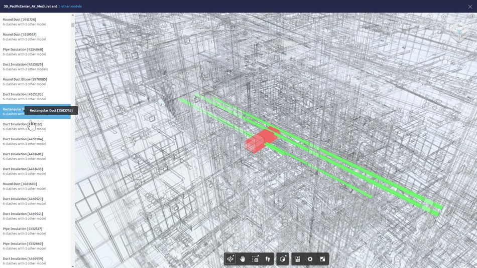 In BIM 360, clash detection is performed automatically as multi-discipline models are published. In the Model Coordination module, users can drill down into individual clashing objects to resolve issues in the pre-construction stage.