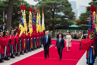 U.S President Donald J. Trump and South Korean President Moon Jae-in, accompanied by their wives, arrive for talks on the growing threat posed by North Korea at the Blue House in Seoul, Nov. 7, 2017. [Photo Credit:] White House photo by Shealah Craighead