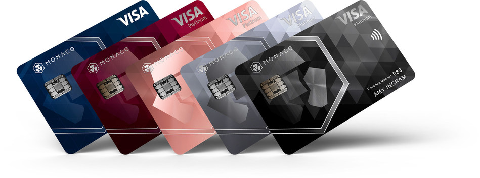 (From left to right) Midnight Blue (Classic plastic card), Ruby Steel, Rose Gold, Space Gray (Platinum metal cards) and Obsidian Black (Limited Edition Platinum metal card) (PRNewsfoto/Monaco)