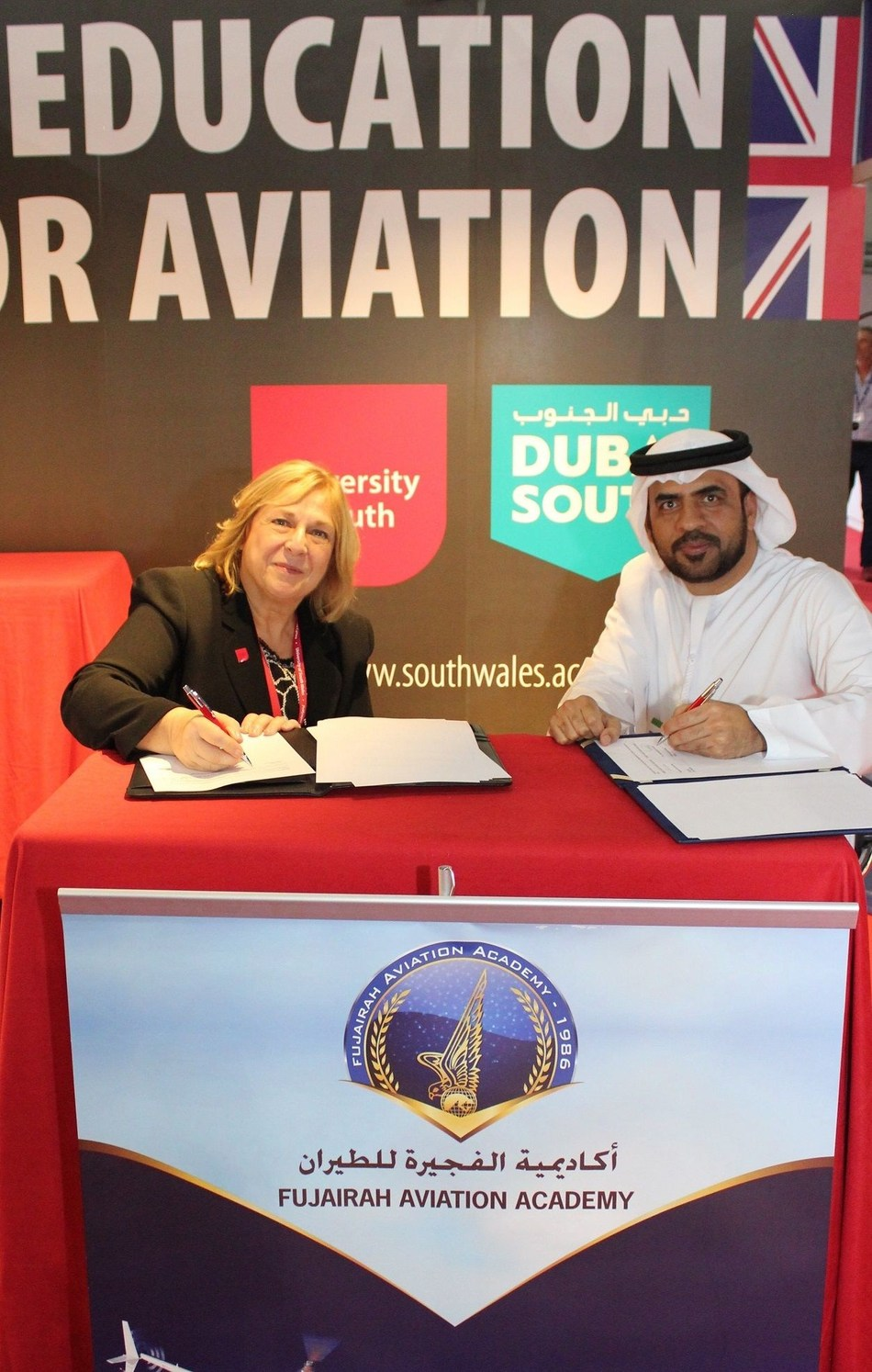 Professor Julie Lydon (University of South Wales) and Captain Yahya Alboloushi (PRNewsfoto/University of South Wales)