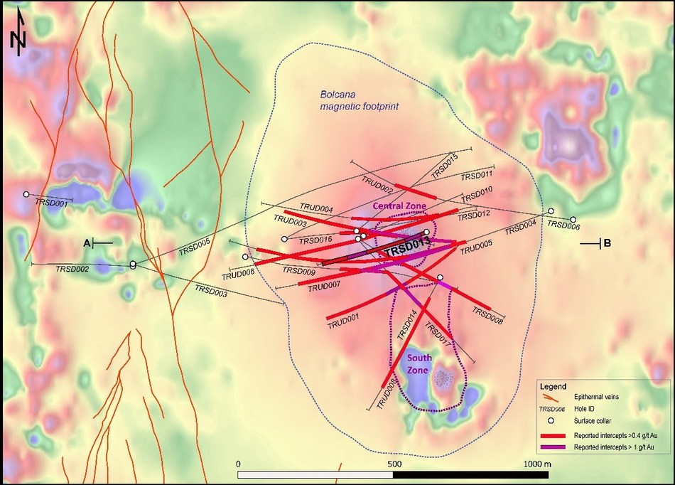 Figure 3: Map of the Bolcana gold-copper porphyry project area showing reduced-to-pole magnetic signature overlain by projected traces of 2017 drillholes and mineralized intervals reported in this release. (CNW Group/Eldorado Gold Corporation)