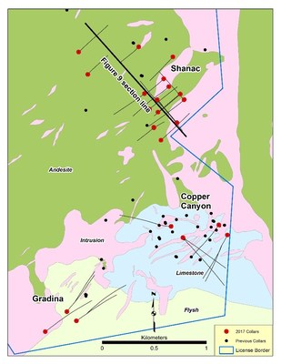 Figure 8: Geological map of the KMC project area showing locations of mineralized zones targeted in 2017 exploration drilling programs. (CNW Group/Eldorado Gold Corporation)