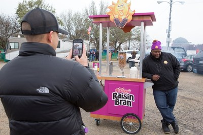 "Spice Adams, a retired professional football player, teams up with Kellogg's Raisin Bran to help tailgaters in Chicago start their day ""Sunny"" by surprising them with a mobile game day breakfast cart, complete with milk-dispensing keg, on November 12, 2017."