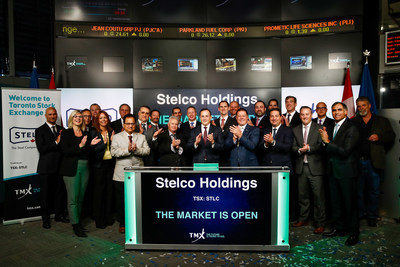 Alan Kestenbaum, Executive Chairman and CEO, Stelco Holdings Inc. (STLC), joined Rob Peterman, Vice-President, Global Business Development, TMX Group, to open the market. Headquartered in Hamilton, Ontario, Stelco is an integrated steel company which conducts its operations out of two facilities located in Hamilton and in Nanticoke, Ontario. These operations produce hot rolled, cold rolled, coated sheet steel products used in the construction, automotive and energy industries across Canada and the United States. Stelco Holdings Inc. commenced trading on Toronto Stock Exchange on November 3, 2017. (CNW Group/TMX Group Limited)
