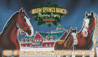 For the first time, guests are welcome to view lights and celebrate the holidays at the breeding farm of the Budweiser Clydesdales