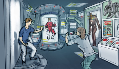 Tony Stark's Lab is one of many different settings in which visitors can immerse themselves and interact with their favorite characters. Concept artwork by Studio TK.