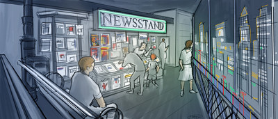 The exhibit is brought to life through numerous walk-in scenes, borrowed straight up from the comic world. It all begins with a leap back in time, to a New York City – style street scene of the 1940s housing a classic newsstand – the key venue that paved the path to success for Marvel's comic books. Concept artwork by Studio TK.