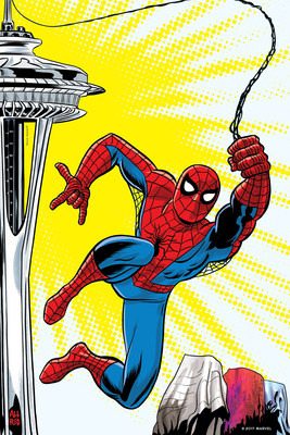 MoPOP and SC Exhibitions commissioned several renowned Marvel artists to create a series of posters for the Seattle show which will be released over the months to come. Michael Allred's interpretation shows Spider-Man swinging from the iconic Space Needle. The exclusive artwork will be featured in MoPOP's advertising campaign in spring 2018. Space Needle ® ©2017 MARVEL
