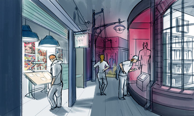 Visitors can stroll through the streets of New York City, catching a glimpse into artists' studios to learn about the creators behind the comics and gaze at original props from Jessica Jones, Luke Cage, and more. Concept artwork by Studio TK.