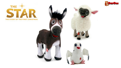 "Assorted plush in collection from Sony Pictures Animation and AFFIRM Films' ""The Star"" featuring the characters Bo (pictured left), Ruth (top right), and Dave (bottom right)."