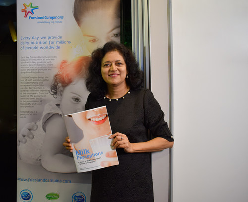 A first-of-its-kind study, led by Dr Kalpana Bhaskaran, finds that Singaporean adults are losing out on milk's nutritious benefits by not drinking a glass a day. (PRNewsfoto/FrieslandCampina)