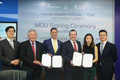 Signing Ceremony between Ctrip and Western Australia: With the Premier of Western Australia, the Hon Mark McGowan and the Minister of Tourism for Western Australia, the Hon Paul Papalia