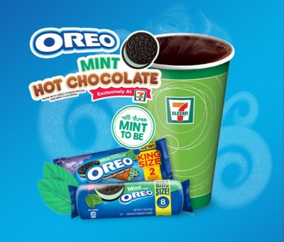 7-Eleven, Inc. is teaming up with America's favorite cookie brand to launch a minty fresh product lineup, anchored by OREO Mint hot chocolate. The exclusive flavor has never been available before as a hot chocolate and 7-Eleven® stores will be the only ones – anywhere – to carry the limited edition.
