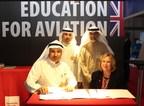 Abdullah Al Anez (Kuwait Airways) and Professor Julie Lydon (USW) sign the Memorandum of Agreement at the Dubai Airshow (PRNewsfoto/University of South Wales)
