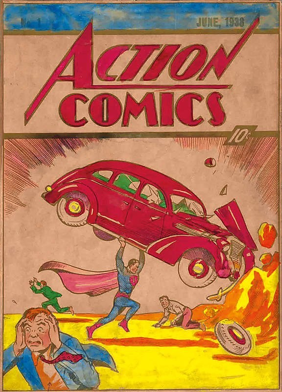 Hand colored 1938 Action Comics #1 silver print proof from the Hidden Valley Collection being auctioned at www.ComicConnect.com.